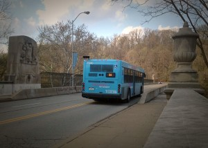 The 58 bus crossing the Greenfield Bridge (photo by Pat Hassett)