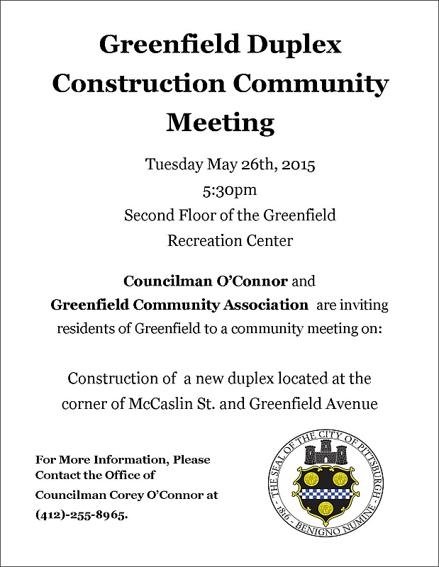 Greenfield Duplex Meeting, 26 May 2015