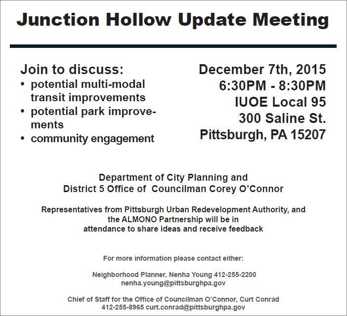 Junction Hollow Update Meeting, Dec 7, 2015, 6:30pm, at IUOE, 300 Saline Street in The Run