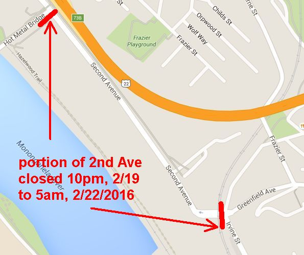 Area of 2nd Ave that will close 10pm, Feb 19 to 5am Feb 22, 2016
