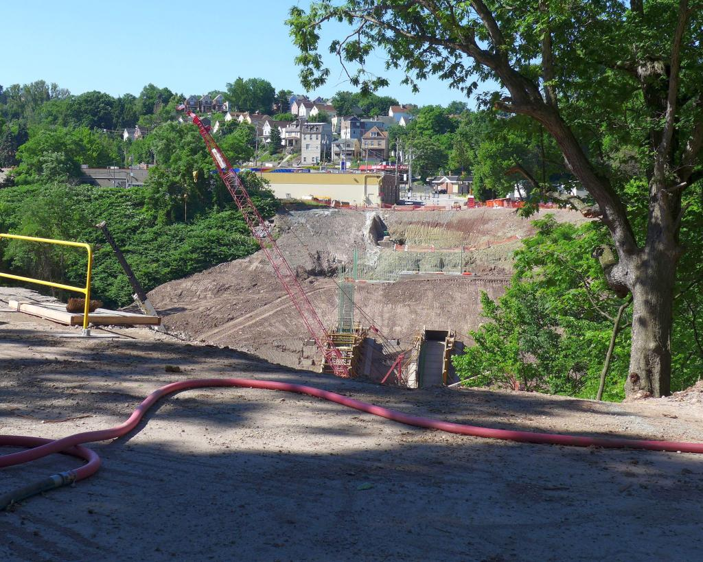 View of Greenfield Bridge construction from Greenfield Road in Schenley Park, 12 June 2016