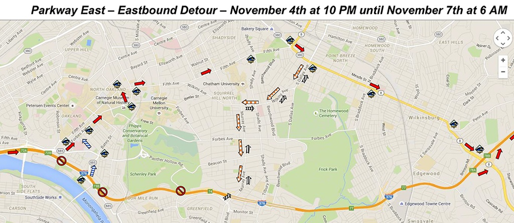Parkway East detour route -- eastbound (map from OTMA)