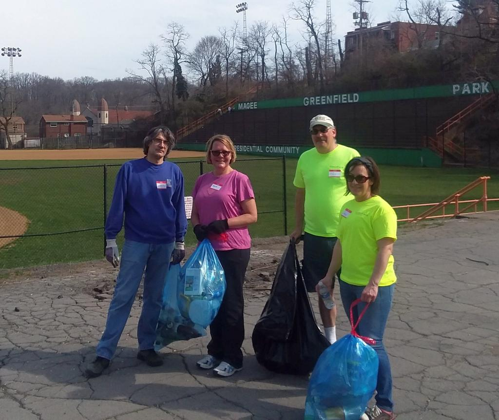 Cleanup crew at Magee Field, 14 April 2018